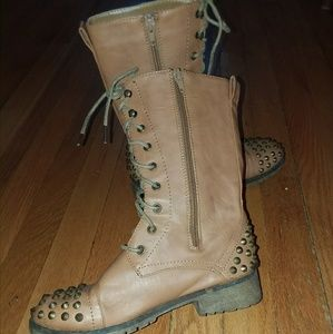 Faux leather studded boots size 6